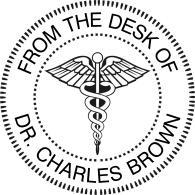 Rubber hand stamp with Medical Insignia (Caduceus). 1-5/8 diameter impression area.  Ships same day if ordered before 2pm, excluding weekends and holidays.