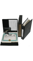 Complete corporate kit comes in a traditional black padded leather-look finish binder with gold lettering. Customize yours with engraved pocket seals & more!