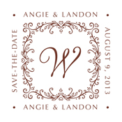 Custom Save The Date Rubber Stamp With Monogram
