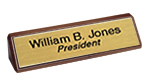 2in.x10in. Desk Sign<br>Walnut Easel<br>w/ Brass Nameplate