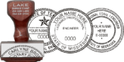 Traditional Rubber Stamp customized with selected State's required Architect or Engineer layout using the information provided