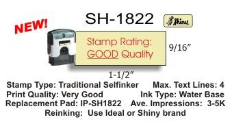 Shiny S-1822 Premium Line Self-Inking stamp from Shiny USA. Complete with customized red rubber die. 9/16 x 1-1/2 inch impression area.