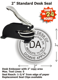Our latest Shiny DESK Style Embossing seal allows for an impression reach up to 1-3/4in. Customize your desk style embossing seal at fredlake.com!