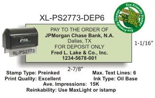 Order this preformatted 6 line PSI 2773 deposit stamp today!