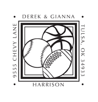 Designer Address Stamp with football, basketball and baseball.