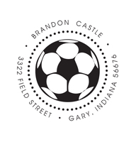 Designer Address Stamp with soccer ball.
