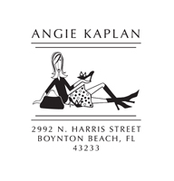 Designer Address Stamp with laid back lady. Perfect gift for someone that lives life with flair!