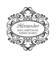 Designer Address Stamp with oval doorplate design.