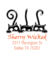 Shiny® Model S542 2-color SQUARE Selfinking address stamp with Halloween 3 cats design.