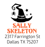 Shiny® Model S542 2-color SQUARE Selfinking address stamp with Halloween witches hat design.