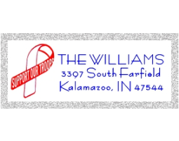 2-Color Support Our Troups Ribbon address stamp