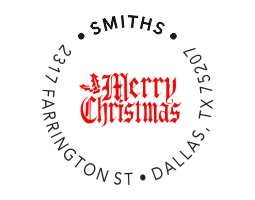 2-color Merry Christmas Style S10 Designer Address Stamp