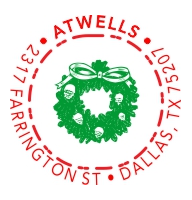 2-color Holiday Wreath Style S12 Designer Address Stamp