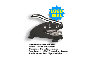 Shiny brand 1-5/8in. diameter DESK Style LOGO Embossing seal. Use preformated message lines or create your own. Choose one of our stock logo images or let us add your custom logo for an additional $40. No charge for preproduction email proof.