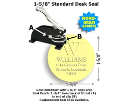 Personal Line 1-5/8in. diameter DESK Style LOGO Embossing seal. Customize with monogram, last name and address.  Add elegance to your correspondence with this economical tool.