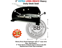 Our heaviest duty Desk Style Extra Long-Reach Embossing seal with online customization.  2in. diameter die plates.  Extremely heavy guage metal and sturdy rubber feet provide a superior platform for high volume embossing jobs.