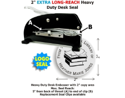 Our heaviest duty Desk Style Extra Long-Reach LOGO Embossing seal with your choice of 15 message lines and 10 stock images. 2in. diameter die plates. Extremely heavy guage metal and sturdy rubber feet provide a superior platform for high volume embossing.