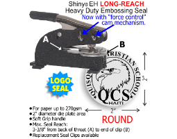 The 2in. Diameter Heavy Duty Long-Reach Desk Style Embossing model includes 15 message lines or 10 stock LOGO images. View our custom embossers now!