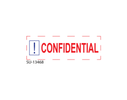 Shiny OA CONFIDENTIAL red/blue pre-inked hand stamp