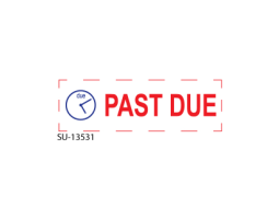 "Searching for multi-colored office stamps? We carry a line of two-toned stamps. Buy our ""Past Due"" 2-Color stamp, one of our pre-inked stamps, right here."