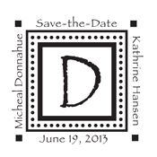 Customize your save the date stamp with your own monogram for your next event. This traditional selfinker - CS-20000 provides over 3000 impressions!