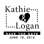 "Designer ""Save The Date"" Stamp with Heart"