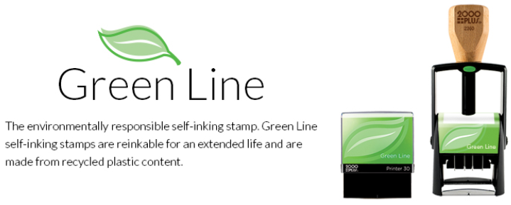 Green Line stamps are the environmentally responsible choice for self-inking stamps! They are perfect for custom business stamps, custom logo stamps & more.