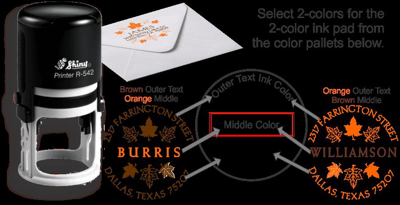 Shiny® Model R542 2-color maple leaves design selfinking address stamp