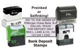 A complete collection of preinked and selfinking FOR DEPOSIT ONLY stamps.  Choose from 4 preinked (MaxLight® and PSI™) and 3 selfinking (Shiny® and 2000Plus®) stamps.  All have a preformatted template to make designing your stamp simple and accurate.