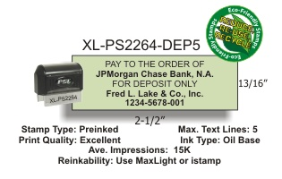 Preformatted 5 Line BANK DEPOSIT STAMP, IMPRESSION AREA U003d 13/16in. X 2  1/2in. Excellent Print Quality. Black Case W/ Detachable Dust Cover.