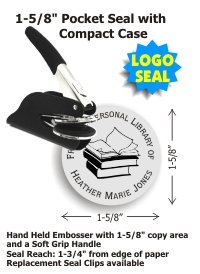 Our latest POCKET Style LOGO Embossing seal (1-5/8in. diameter die plates) with your choice of 15 message lines and 10 stock images. Add your own logo for an additional $40. Standard throat allows for an impression reach up to 1-3/4in. from edge of paper.
