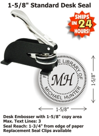 Shiny Model ED Desk Style MONOGRAM Embossing seal (1-5/8in. diameter die plates)   Standard throat allows for an impression reach up to 1-3/4in. from edge of paper.  Normal production time is 24 - 48 hours (excludes weekends and holidays)