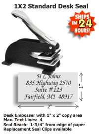 Our latest Shiny brand Stationery-Type 1in. x 2in. DESK Embosser with rubberized feet.  Standard throat allows for an impression reach up to 1-3/4in. from edge of paper. Normal production time is 24-48 hours, not including weekends.