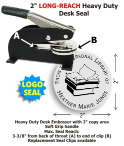2in. Diameter Heavy Duty Long-Reach Desk Style Embossing seal from Shiny® USA.  This model includes your choice of 15 message lines and 10 stock LOGO images.  Extremely heavy guage metal and sturdy rubber feet provide a superior platform for high volume e