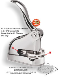 Shiny EG Deluxe Embossing seal (1-5/8in. diameter die plates) with a Chrome plated finish.  Great gift idea!