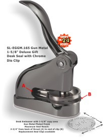 Shiny EG Deluxe Embossing seal (1-5/8in. diameter die plates) with a GUN METAL plated finish.  Great gift idea!