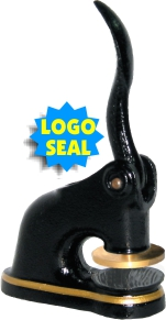"Fred Lake is your source for embossers, stamps, and other office supplies. Purchase your 2"" Cast Iron Logo Desk Embossing Seal here."
