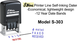 Shiny® S-303 4 in 1 Mini Dater. Printer line mini date stamp with 4 interchangeable rubber text dies.(1)PAID, (2)RECEIVED, (3)FAXED or (4)e-mailed