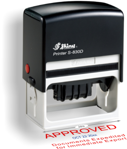 Shiny Model S-830D Self-Inking Dater with a 1-1/2in. X 3in. Impression Area.