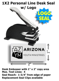 Our latest Shiny brand Stationery-Type 1in. x 2in. DESK Embosser with rubberized feet.  Standard throat allows for an impression reach up to 1-3/4in. from edge of paper.