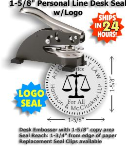 Our latest Shiny Desk Style Embossing seal with Scales of Justice logo.  (1-5/8in. diameter die plates)   Standard throat allows for an impression reach up to 1-3/4in. from edge of paper.  Normal production time is 24 - 48 hours