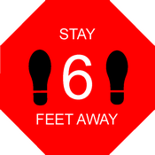 "Covid 19 Safety Red Floor Decal for Social Distancing; CN-27043 10"" Stop Sign Octagon; Stay 6 Feet Away text"