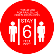 "CN-27053 Covid 19 Safety Red Floor Decal for Social Distancing with Thank You for Practicing...Stay 6 Feet Away text. 10"" diameter red with white print."
